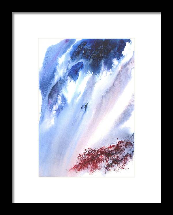 A Waterfall- A Watercolor Painting Framed Print featuring the painting Waterfall by Mui-Joo Wee
