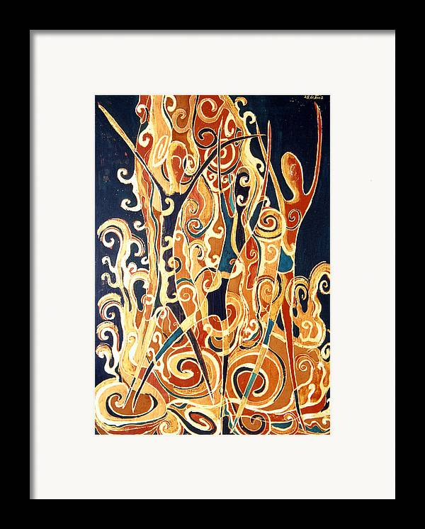 Figures Framed Print featuring the painting Waterfall Of A Golden Rain by Aliza Souleyeva-Alexander