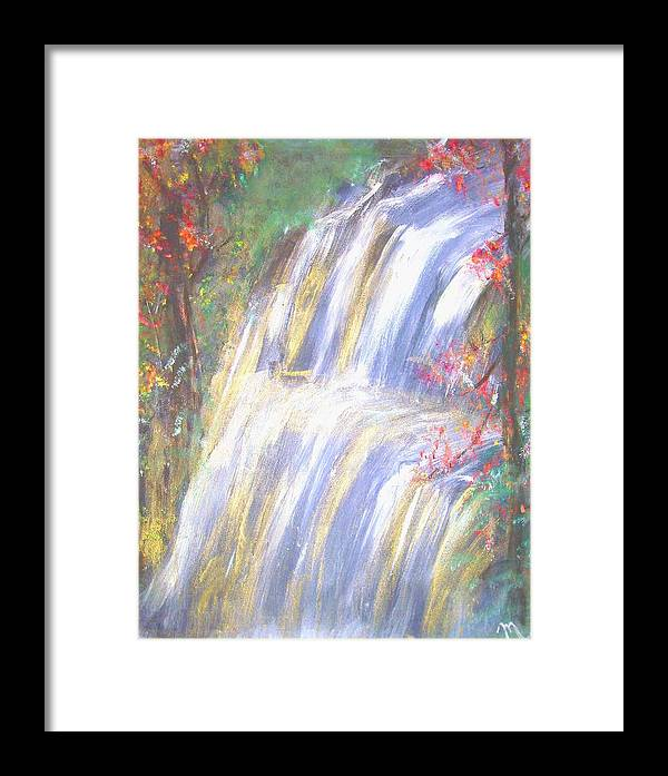 Landscape Framed Print featuring the painting Waterfall Of El Dorado by Michela Akers