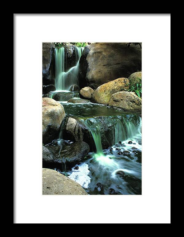 Water Framed Print featuring the photograph Waterfall On Maui by Carl Purcell