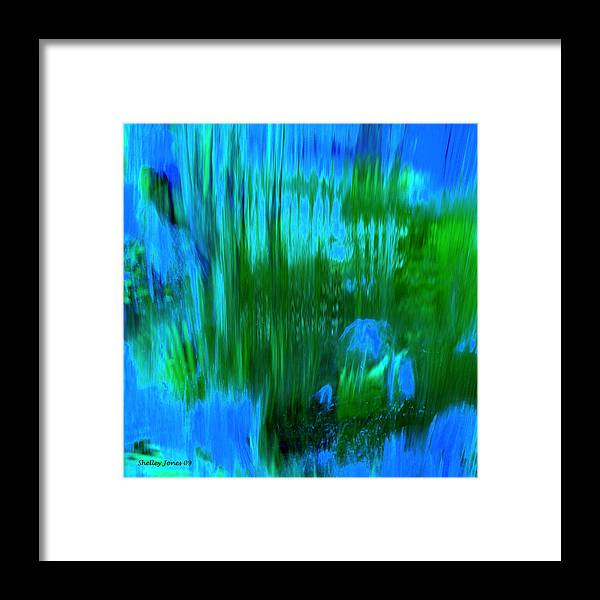 Digital Art Framed Print featuring the digital art Waterfall by Shelley Jones