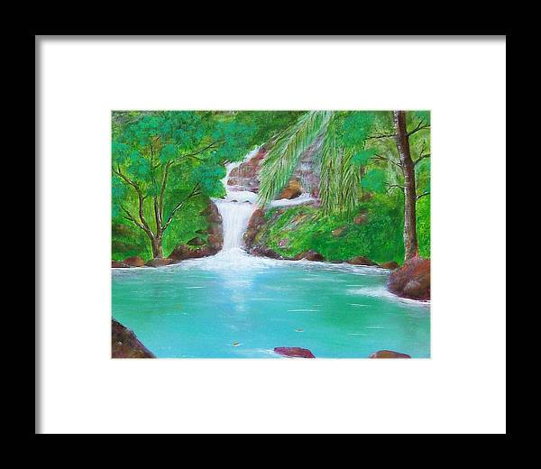 Waterfall Framed Print featuring the painting Waterfall by Tony Rodriguez