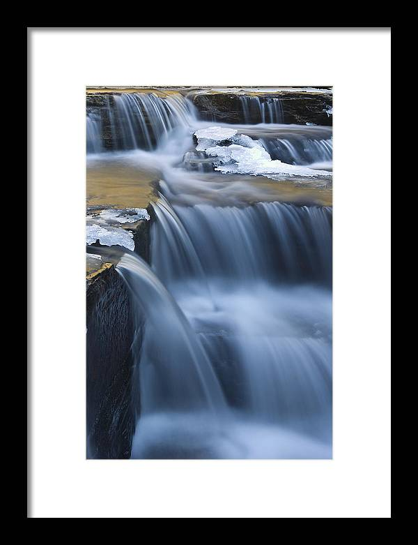 Waterfalls Framed Print featuring the photograph Waterfalls In Blue And Gold by Jim Dohms