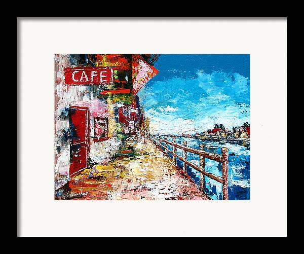 Art Framed Print featuring the painting Waterfront Cafe by Claude Marshall