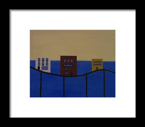 Abstract Framed Print featuring the painting Waterfront Property by Sandy Bostelman