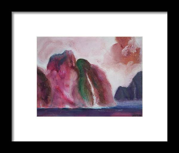 Abstract Painting Framed Print featuring the painting Waterfull by Suzanne Udell Levinger