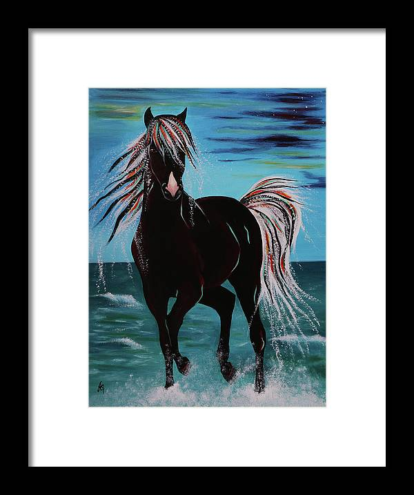 Horse Framed Print featuring the painting Waterhorse by Nicole Paquette