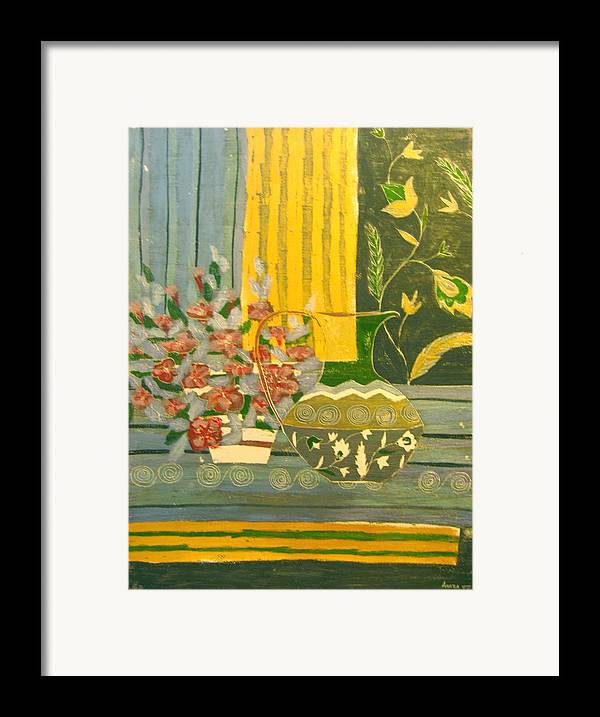 Still Life Framed Print featuring the painting Watering Serenity by Aliza Souleyeva-Alexander
