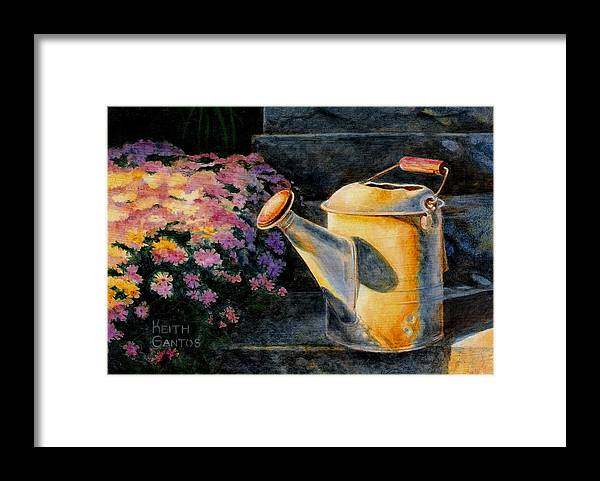 Watering Can Framed Print featuring the painting Watering Time by Keith Gantos