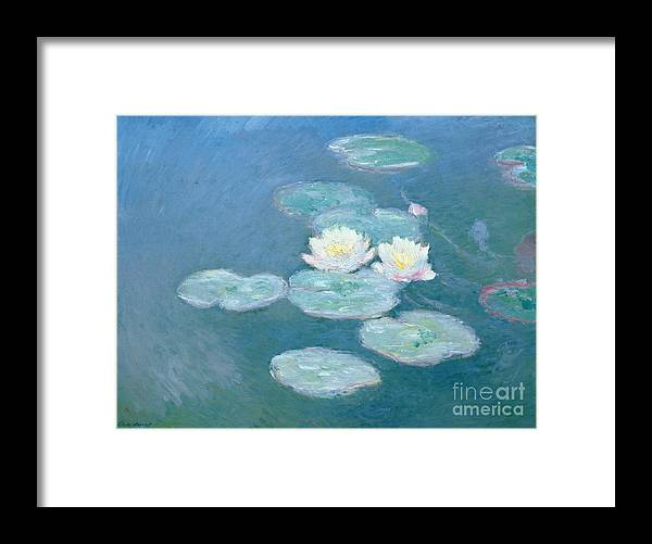 Waterlilies Framed Print featuring the painting Waterlilies Evening by Claude Monet