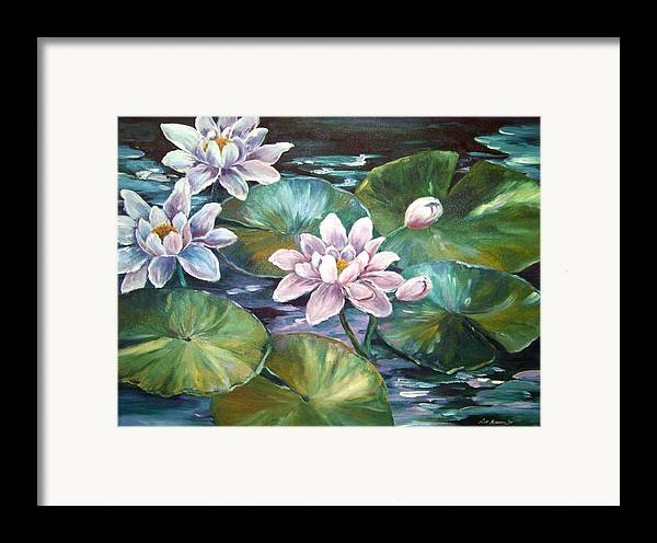 Oil Painting;waterlilies;water; Framed Print featuring the painting Waterlilies by Lois Mountz