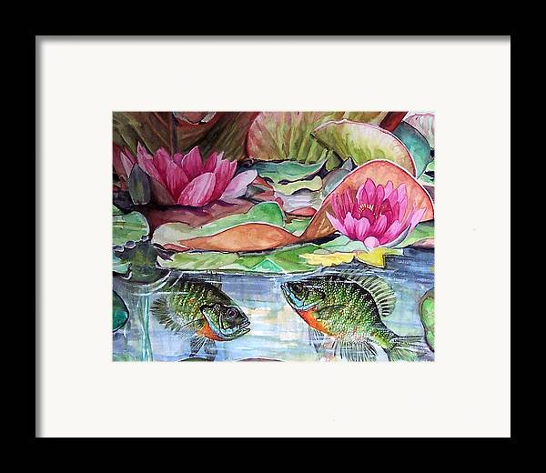Waterlillies Framed Print featuring the print Waterlillies And Blue Giles by Bette Gray