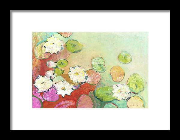 Lilly Framed Print featuring the painting Waterlillies At Dusk No 2 by Jennifer Lommers