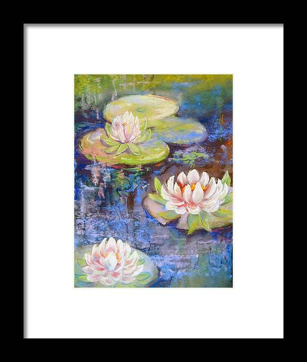 Plants Framed Print featuring the painting Waterlillies by Caroline Patrick