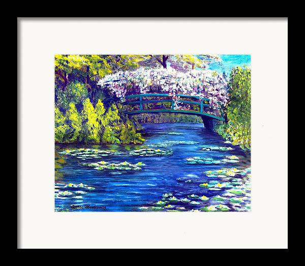 Landscape Framed Print featuring the print Waterlilly Bridge by George Markiewicz