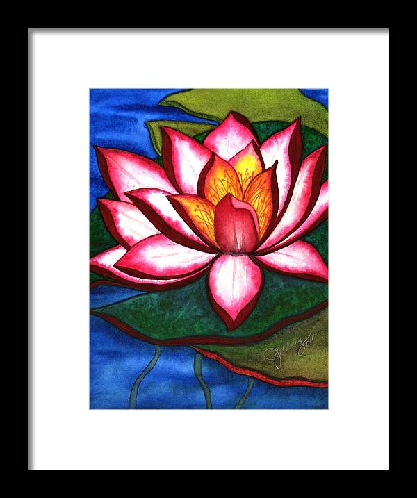 Watercolor Framed Print featuring the painting Waterlily by Stephanie Jolley