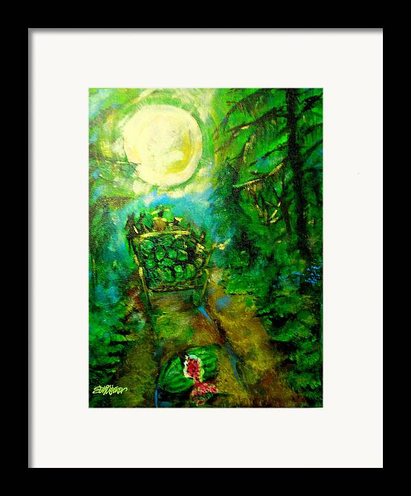 Watermelon Wagon Moon Framed Print featuring the painting Watermelon Wagon Moon by Seth Weaver