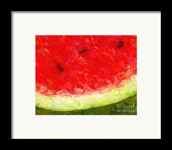 Wingsdomain Framed Print featuring the photograph Watermelon With Three Seeds by Wingsdomain Art and Photography