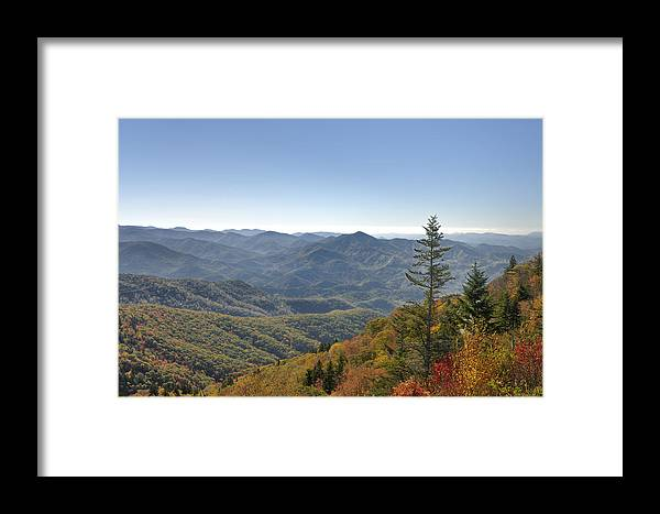 Blue Ridge Parkway Framed Print featuring the photograph Waterrock Knob On Blue Ridge Parkway by Darrell Young