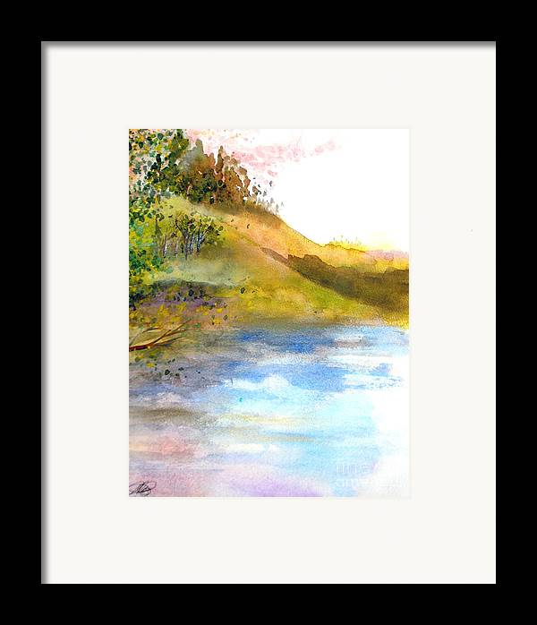 Landscape Framed Print featuring the painting Waters Edge by Vivian Mosley