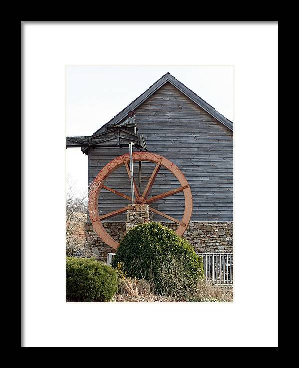 Building Framed Print featuring the photograph Waterwheel Of Old by Linda A Waterhouse