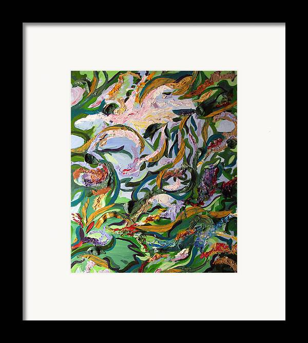 Abstract Framed Print featuring the painting Watery Trees by Art Nomad Sandra Hansen