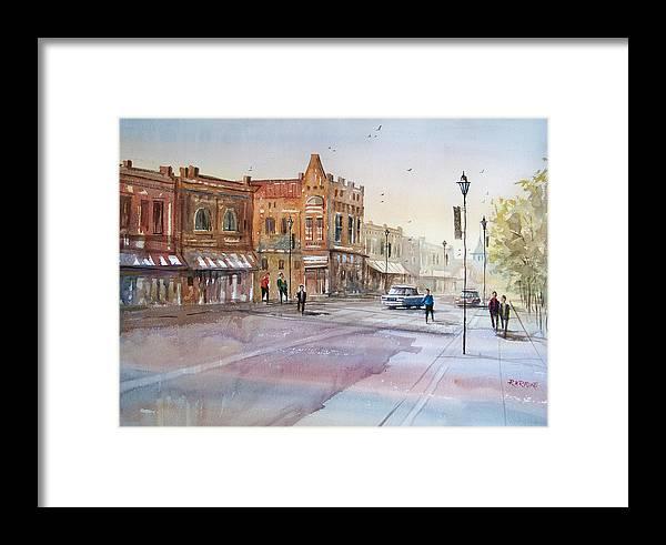 Watercolor Framed Print featuring the painting Waupaca - Main Street by Ryan Radke
