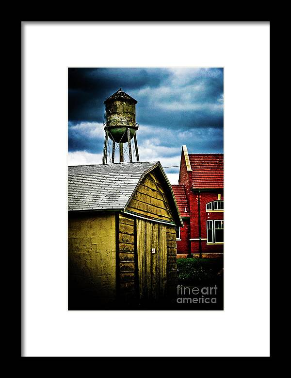 Buildings Framed Print featuring the photograph Waurika old buildings by Toni Hopper
