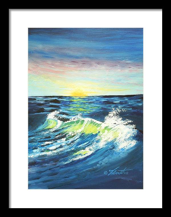 Landscape Framed Print featuring the painting Wave By Early Light by Dennis Vebert