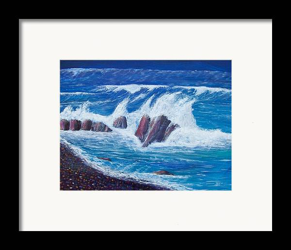 Seascape Framed Print featuring the painting Wave Crashing by Tony Rodriguez