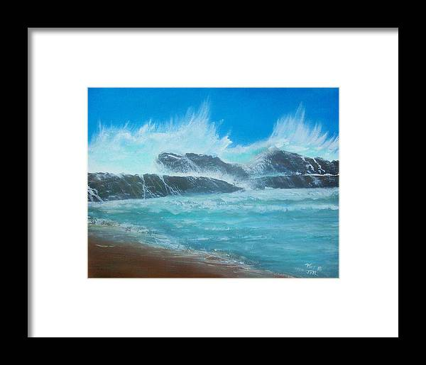 Seascape Framed Print featuring the painting Wave Fury by Tony Rodriguez
