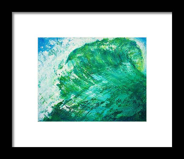 Wave Green Wave Mixed Medium Surfing Beach Tropical Summer Mixed Media Oils Painting Wax Texture Mi Framed Print featuring the painting wave IX by Martine Letoile