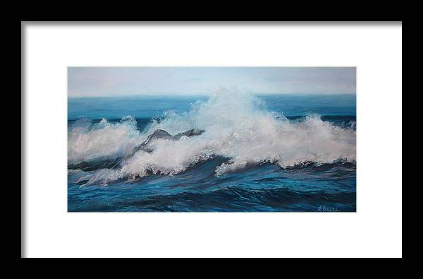 Ocean Framed Print featuring the pastel Wave by Linda Preece