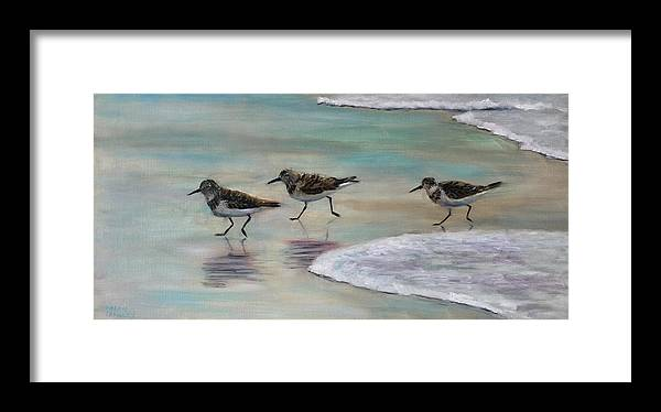 Sand Pipers Framed Print featuring the painting Wave Runners by Karen Langley