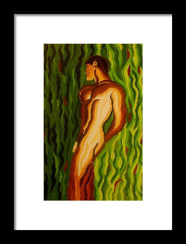 Male Nude Framed Print featuring the painting Wave Shapes by Mats Eriksson