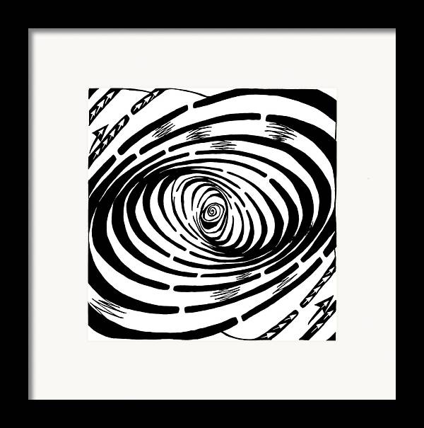 Wave Framed Print featuring the drawing Wave Swirl Maze by Yonatan Frimer Maze Artist