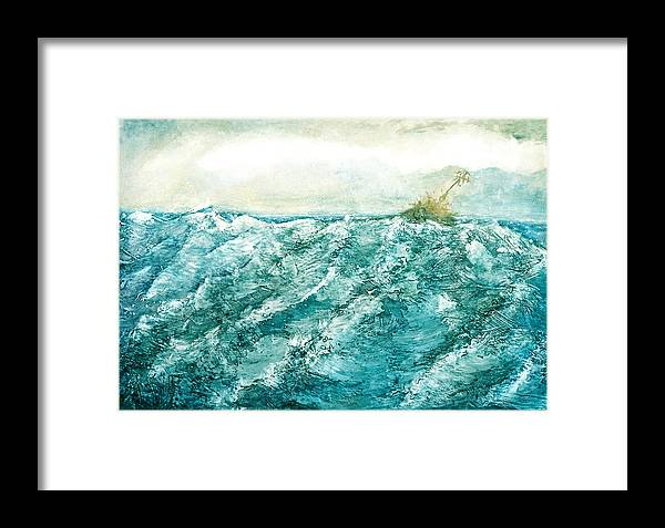Oil Painting Framed Print featuring the painting wave V by Martine Letoile