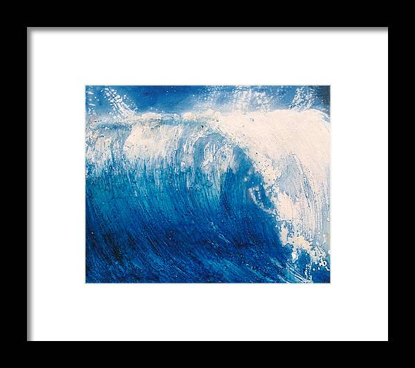 Oil Painting Framed Print featuring the painting wave VI by Martine Letoile