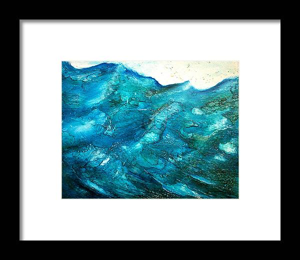 Contemporary Framed Print featuring the painting wave VII by Martine Letoile