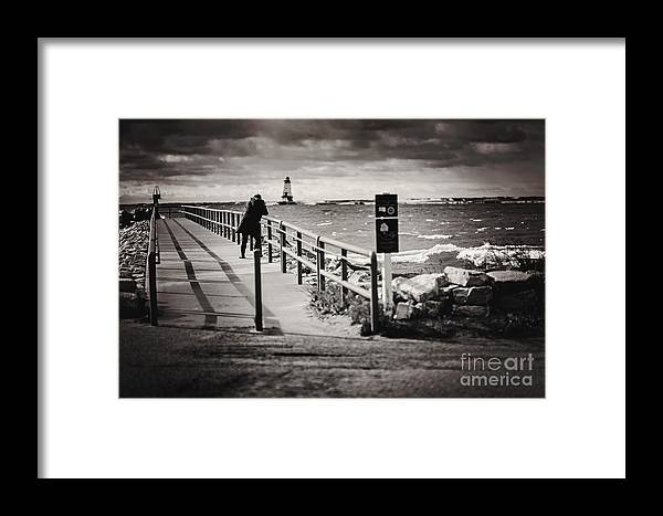 Ludington Michigan Framed Print featuring the photograph Wave Watcher by Randall Cogle