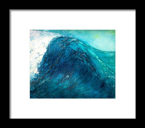 Wave Blue Wave Sea Water Seascape Rising Wave Mixed Media Encaustic Painting Original Canvas Wax Oil Framed Print featuring the painting wave X by Martine Letoile