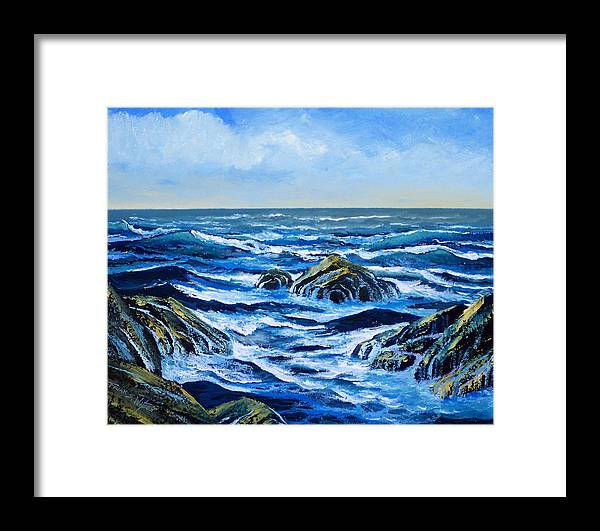 Ocean Framed Print featuring the painting Waves And Foam by Frank Wilson