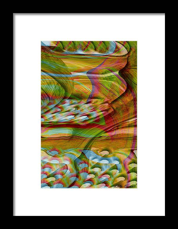 Abstracts Framed Print featuring the digital art Waves And Patterns by Linda Sannuti