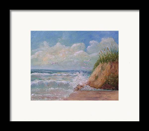 Seagulls Framed Print featuring the painting Waves by Barbara Harper