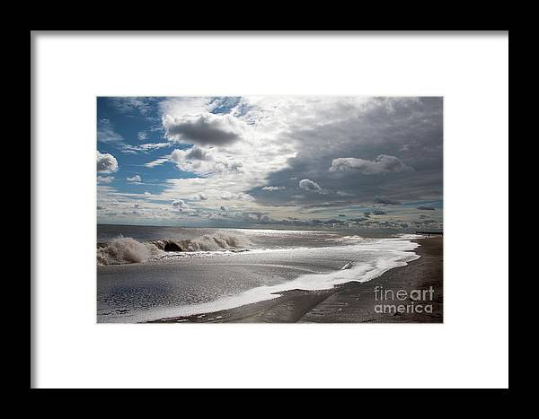 Skegness Beach England Lincolnshire Skegness Beach Coast [cumulus Cloud] Dramatic Sandy Wave Wind [united Kingdom] Coastline Sand Windy [great Britain] Shore Shoreline Landscape [northern Europe] Seascape British English Photo Photos Photograph Photographs Photography Framed Print featuring the photograph Waves Breaking Against The Beach And Cloud Streaming Above Skegness Lincolnshire England by Michael Walters