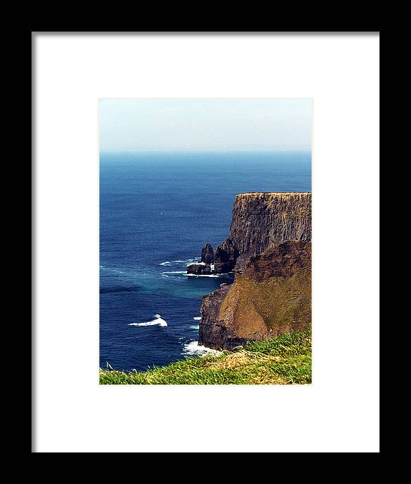 Irish Framed Print featuring the photograph Waves Crashing At Cliffs Of Moher Ireland by Teresa Mucha