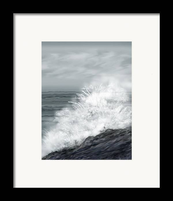 Seascape Framed Print featuring the painting Waves Crashing The Rocks In Ireland by Anne Norskog