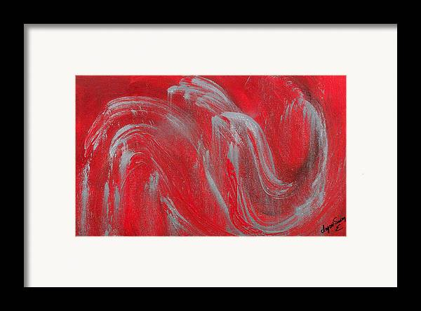 Modern Framed Print featuring the painting Waves by Helene Lagoudakis