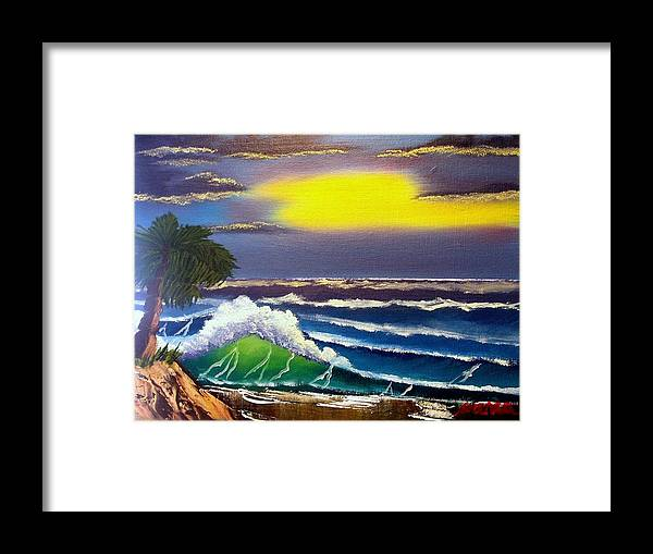 Waves Framed Print featuring the painting Waves in a Tropical Sunburst by Dina Sierra