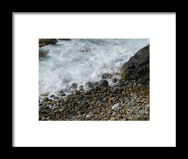 Caribbean Framed Print featuring the photograph Waves Meet Pebbles by Margaret Brooks